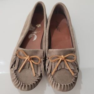 Lucky Brand Suede Leather Moccasin Shoes Sz 9